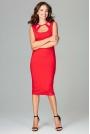 Czerwona Klasyczna Ołówkowa Sukienka Midi z Ozdobnym Dekoltem