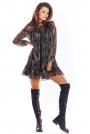 Luźna Mini Sukienka z Wzorzystego Szyfonu z Falbankami - Wzór 3