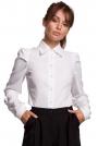 Biała Klasyczna Koszula z Bufiastymi Rękawami