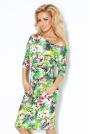 Sukienka  Ściągana w Pasie Wzór - Papugi Raj