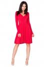 Czerwona Sukienka Rozkloszowana Midi z Dekoltem w Szpic