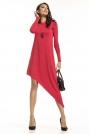 Czerwona Asymetryczna Sukienka Dzianinowa