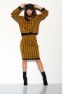 Kamelowo Czarny Casualowy Komplet w Monogramy Sweter + Spódnica