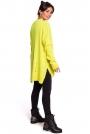 Żółty Oversizowy Sweter w serek z Efektem Damage