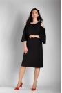Czarna Prosta Midi Sukienka z Rozkloszowanym Rękawem PLUS SIZE