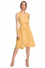 Rozkloszowana Sukienka w Grochy bez Rękawów - Żółta