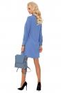 Niebieska Krótka Sukienka Trapezowa z Półgolfem