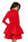 Czerwona Dziewczęca Rozkloszowana Sukienka z Falbaną