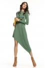 Zielona Asymetryczna Sukienka Dzianinowa