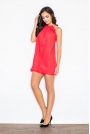 Czerwona Mini Sukienka Tunika Bombka z Kwiatem