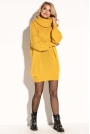 Żółta Swetrowa  Ciepła Sukienka  z Wysokim Golfem.