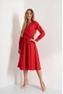 Rozkloszowana Midi Sukienka z Kopertowym Dekoltem - Czerwona
