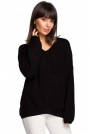 Czarny Oversizowy Sweter w Serek z Asymetrycznym Dołem