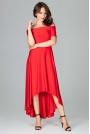 Czerwona Długa Asymetryczna Sukienka z Odkrytymi Ramionami