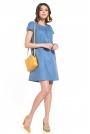 Luźna Sukienka z Krótkim Rękawem - Niebieska