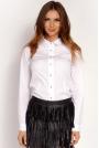 Biała Koszula Zapinana na Biżuteryjne Guziki