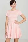 Różowa  Rozkloszowana Sukienka z Krótkim Rękawem