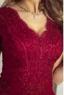Bordowa Wieczorowa Rozkloszowana Sukienka z Gipiury
