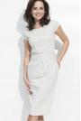 Melanżowa Sukienka Bombka Midi z Rękawkiem