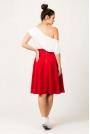 Czerwona Szeroka Spódnica Midi z Szerokim Paskiem