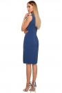 Niebieska Elegancka Sukienka bez Rękawów z Koronką