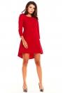 Czerwona Koktajlowa Asymetryczna Sukienka z Kontrą