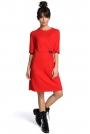 Czerwona Minimalistyczna Sukienka O Linii A z Ozdobną Klamrą