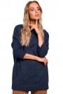 Granatowy Melanżowy Oversizowy Sweter z Półgolfem