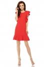 Czerwona Prosta Wizytowa Sukienka z Falbankami