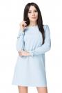 Błękitna Sukienka Wizytowa z Wiązaniami