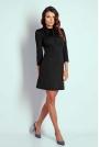Czarna Wizytowa Taliowana Sukienka z Wiązaniem