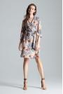 Kopertowa Sukienka bez Zapięcia z Wiązanym Paskiem Wzór 108