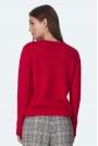 Gładki Sweter z Półkrągłym Dekoltem - Malinowy