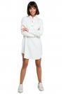 Biała Długa Koszula z Kieszenią