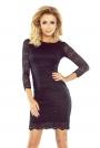Czarna Sukienka Wizytowa z Koronki