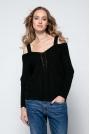 Czarny Lekki Nietoperzowy Sweter ze Zmysłowym Dekoltem
