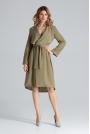 Szlafrokowa Zielona Sukienka z Podpinanym Rękawem