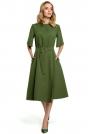 Zielona Rozkloszowana Sukienka z Poszerzanym Rękawem do Łokcia