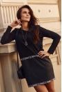Dresowa Czarna Sukienka z Eko-skórą