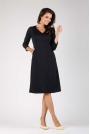 Czarna Trapezowa Wizytowa Sukienka Mini z Kieszeniami