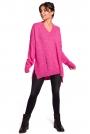 Różowy Oversizowy Sweter w serek z Efektem Damage