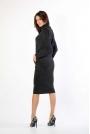 Czarna Dzianinowa Sukienka Midi z Golfem