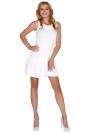Biała Sukienka z Obniżonym Stanem Wiązana na Plecach