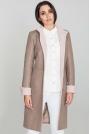 Mocca Elegancki Taliowany Płaszcz z Różowymi Rewersami