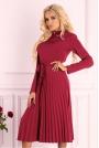 Czerwona Plisowana Sukienka z Zabudowanym Dekoltem