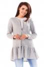 Jasnoszary Długi Sweter na Suwak z Falbanką