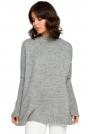 Szary Oversizowy Sweter z Niewielką Stójką
