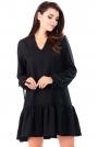 Czarna Sukienka z Dekoltem V  z Falbanką na Dole