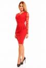 Czerwona Koronkowa Sukienka z Założeniem Kopertowym