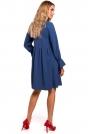 Niebieska Sukienka z Rękawami z Gumką i Falbanką